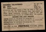 1952 Bowman Small #89  George Taliaferro  Back Thumbnail