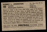 1952 Bowman Small #108  Hubert Johnston  Back Thumbnail