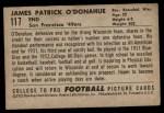 1952 Bowman Small #117  Jim O'Donahue  Back Thumbnail