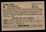 1952 Bowman Small #56  Tobin Rote  Back Thumbnail
