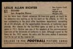 1952 Bowman Small #61  Les Richter  Back Thumbnail