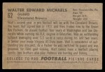 1952 Bowman Small #62  Walt Michaels  Back Thumbnail