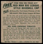 1954 Red Man #10 AL x Billy Pierce  Back Thumbnail