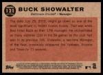 2011 Topps Heritage #121  Buck Showalter  Back Thumbnail