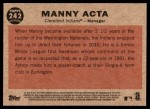 2011 Topps Heritage #242  Manny Acta  Back Thumbnail