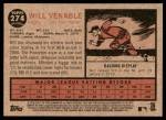 2011 Topps Heritage #274  Will Venable  Back Thumbnail
