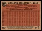 2011 Topps Heritage #384   Athletics Team Back Thumbnail