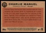 2011 Topps Heritage #374  Charlie Manuel  Back Thumbnail