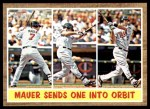 2011 Topps Heritage #316   -  Joe Mauer Mauer Sends One into Orbit Front Thumbnail