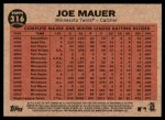 2011 Topps Heritage #316   -  Joe Mauer Mauer Sends One into Orbit Back Thumbnail