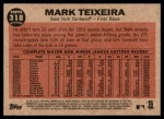 2011 Topps Heritage #318   -  Mark Teixeira The Switch Hitter Connects Back Thumbnail