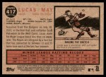 2011 Topps Heritage #417  Lucas May  Back Thumbnail