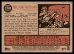 2011 Topps Heritage #208  Rickie Weeks  Back Thumbnail