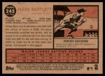 2011 Topps Heritage #245  Jason Bartlett  Back Thumbnail