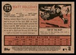 2011 Topps Heritage #370  Matt Holliday  Back Thumbnail