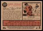 2011 Topps Heritage #249  Vance Worley  Back Thumbnail