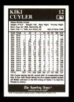 1991 Conlon #12  Kiki Cuyler  Back Thumbnail
