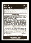 1991 Conlon #167   -  Paul Waner Story Back Thumbnail