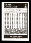 1991 Conlon #27  Ernie Lombardi  Back Thumbnail