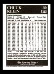 1991 Conlon #30  Chuck Klein  Back Thumbnail