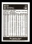 1991 Conlon #13  Red Ruffing  Back Thumbnail