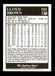 1991 Conlon #181  Lloyd Brown  Back Thumbnail