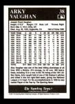1991 Conlon #38  Arky Vaughan  Back Thumbnail