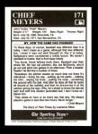 1991 Conlon #171   -  Chief Meyers Story Back Thumbnail