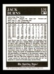 1991 Conlon #131  Jack Burns  Back Thumbnail
