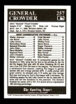 1991 Conlon #257   -  General Crowder All-Time Leaders Back Thumbnail