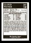 1991 Conlon #265   -  Lloyd Waner All-Time Leaders Back Thumbnail