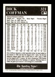 1991 Conlon #321  Dick Coffman  Back Thumbnail