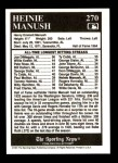 1991 Conlon #270   -  Heinie Manush All-Time Leaders Back Thumbnail