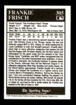 1991 Conlon #305   -  Frankie Frisch  Most Valuable Player Back Thumbnail