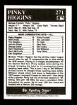 1991 Conlon #271   -  Pinky Higgins All-Time Leaders Back Thumbnail