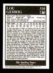 1991 Conlon #310   -  Lou Gehrig Most Valuable Player Back Thumbnail