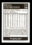 1991 Conlon #218  Riggs Stephenson  Back Thumbnail