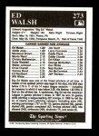 1991 Conlon #273   -  Ed Walsh All-Time Leaders Back Thumbnail