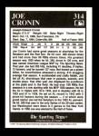 1991 Conlon #314   -  Joe Cronin Most Valuable Player Back Thumbnail