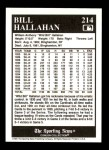 1991 Conlon #214  Bill Hallahan  Back Thumbnail
