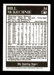 1991 Conlon #34  Bill McKechnie  Back Thumbnail