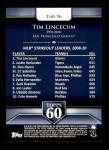 2011 Topps 60 #96 T-60 Tim Lincecum  Back Thumbnail