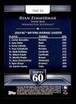 2011 Topps 60 #54 T-60 Ryan Zimmerman  Back Thumbnail