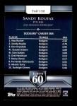 2011 Topps 60 #150 T-60 Sandy Koufax  Back Thumbnail