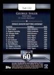 2011 Topps 60 #132 T-60 George Sisler  Back Thumbnail