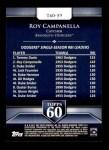 2011 Topps 60 #59 T-60 Roy Campanella  Back Thumbnail