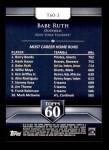 2011 Topps 60 #3 T-60 Babe Ruth  Back Thumbnail