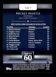 2011 Topps 60 #7 T-60 Mickey Mantle  Back Thumbnail