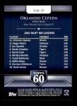 2011 Topps 60 #25 T-60 Orlando Cepeda  Back Thumbnail