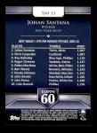 2011 Topps 60 #33 T-60 Johan Santana  Back Thumbnail